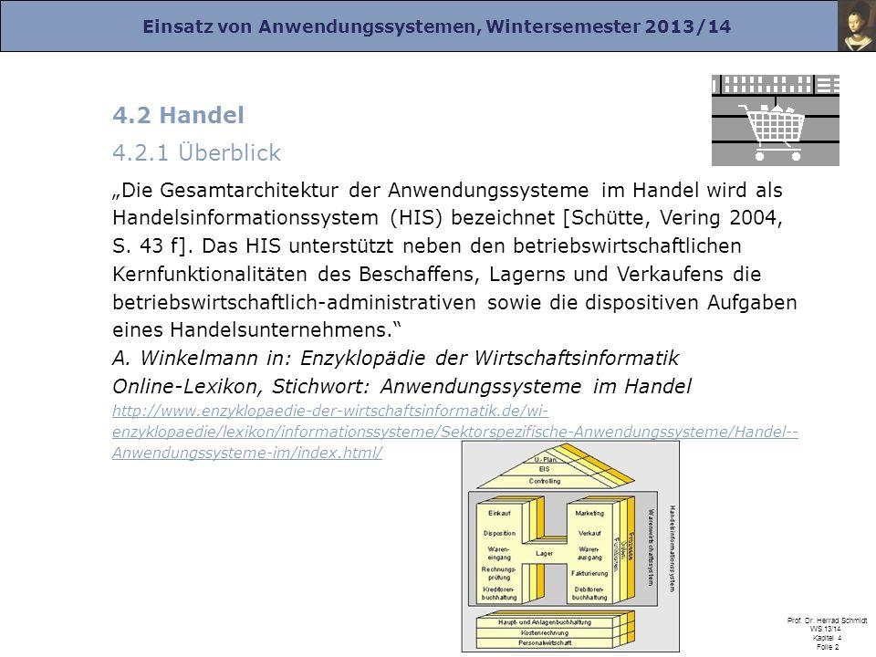 Einsatz von Anwendungssystemen, Wintersemester 2013/14 Prof. Dr. Herrad Schmidt WS 13/14 Kapitel 4 Folie 2 4.2 Handel 4.2.1 Überblick Die Gesamtarchit