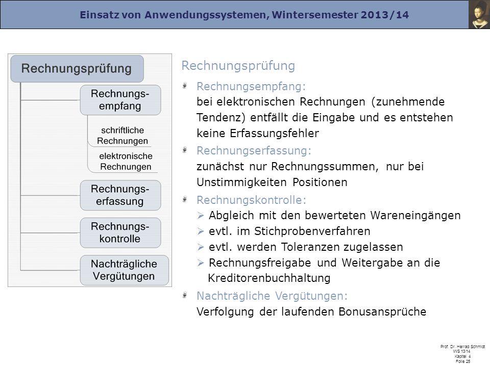 Einsatz von Anwendungssystemen, Wintersemester 2013/14 Prof. Dr. Herrad Schmidt WS 13/14 Kapitel 4 Folie 25 Rechnungsprüfung Rechnungsempfang: bei ele