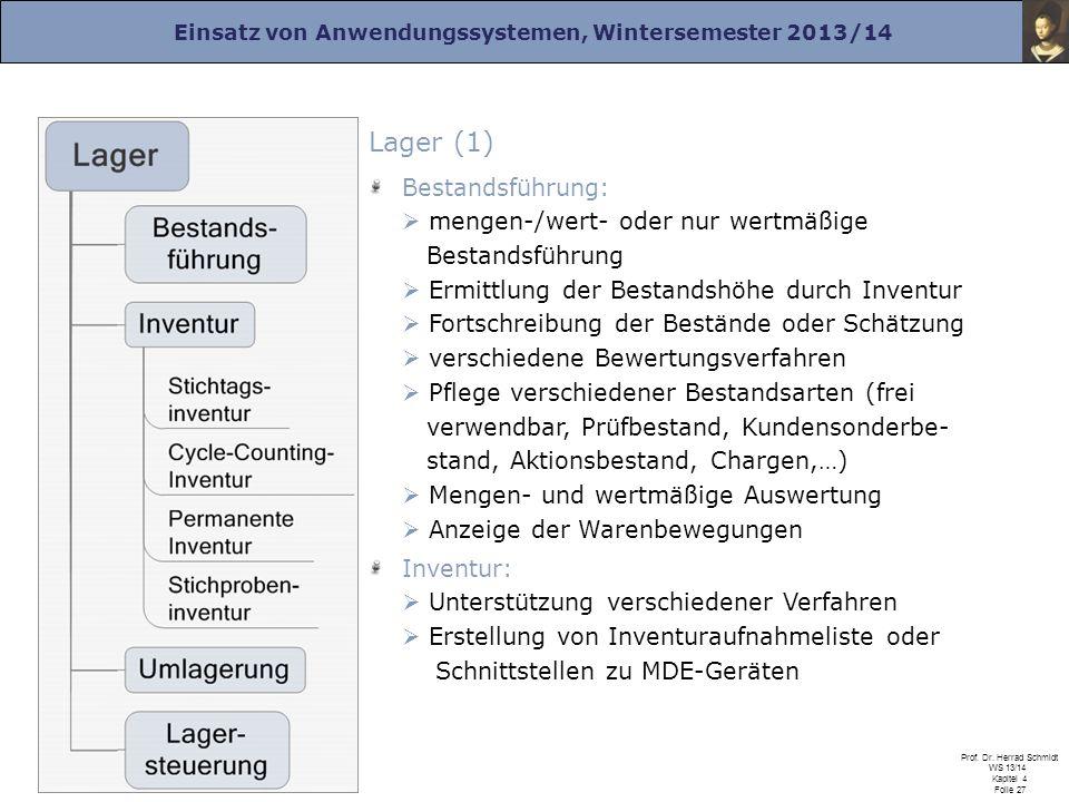 Einsatz von Anwendungssystemen, Wintersemester 2013/14 Prof. Dr. Herrad Schmidt WS 13/14 Kapitel 4 Folie 27 Lager (1) Bestandsführung: mengen-/wert- o