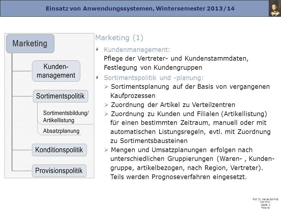 Einsatz von Anwendungssystemen, Wintersemester 2013/14 Prof. Dr. Herrad Schmidt WS 13/14 Kapitel 4 Folie 30 Marketing (1) Kundenmanagement: Pflege der