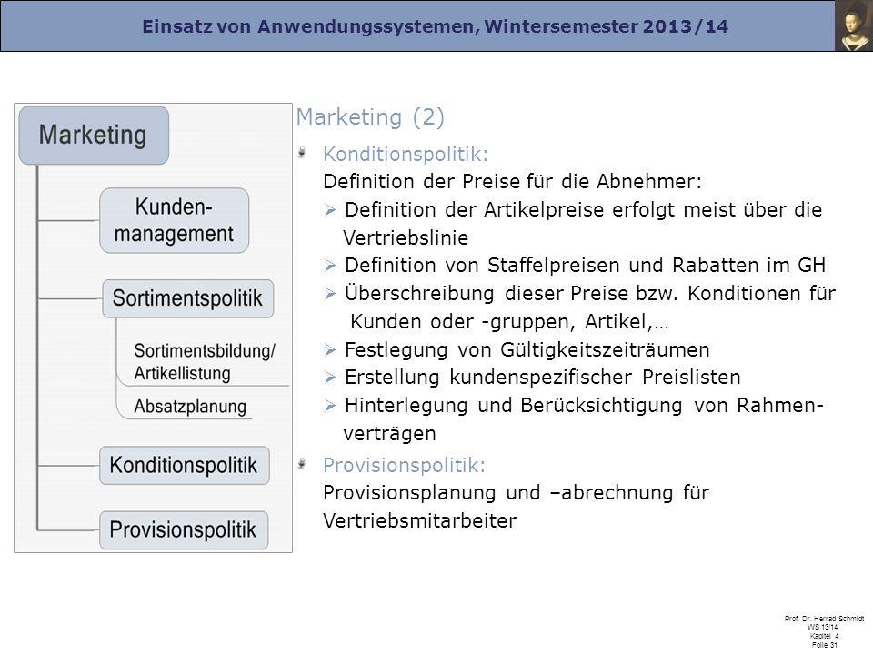 Einsatz von Anwendungssystemen, Wintersemester 2013/14 Prof. Dr. Herrad Schmidt WS 13/14 Kapitel 4 Folie 31 Marketing (2) Konditionspolitik: Definitio