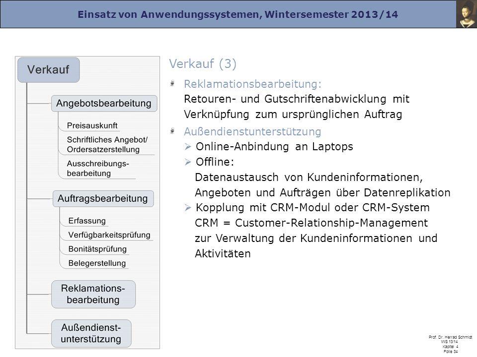 Einsatz von Anwendungssystemen, Wintersemester 2013/14 Prof. Dr. Herrad Schmidt WS 13/14 Kapitel 4 Folie 34 Verkauf (3) Reklamationsbearbeitung: Retou
