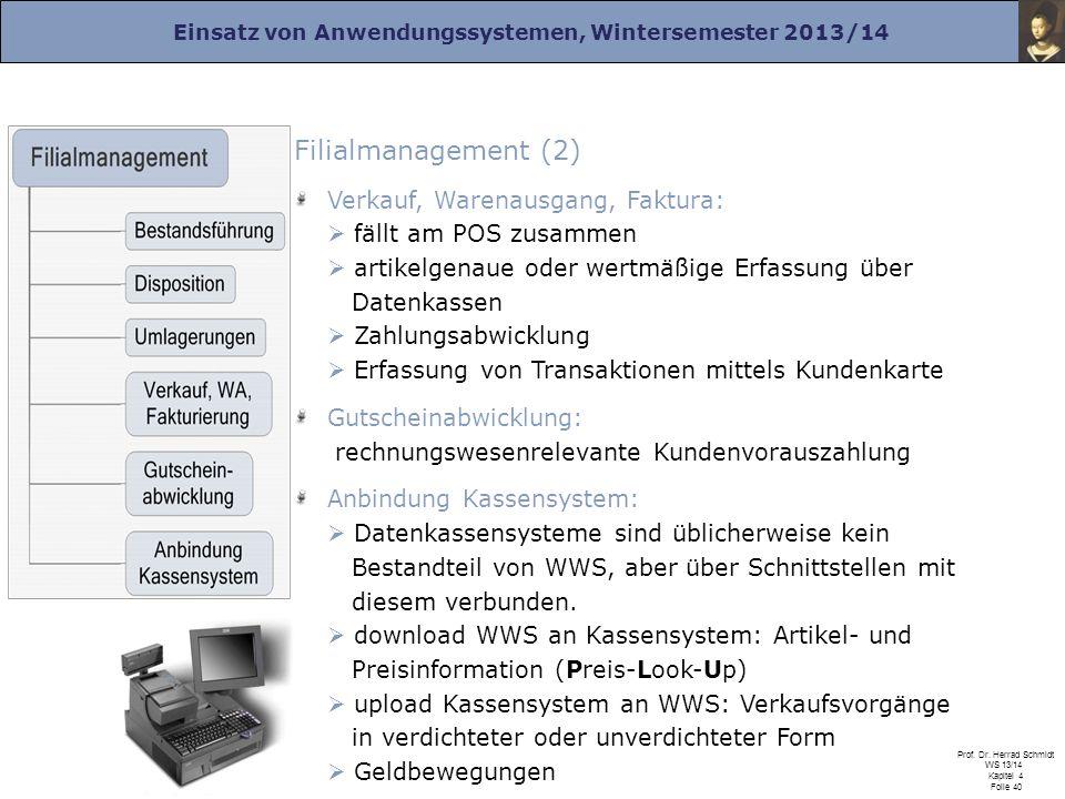 Einsatz von Anwendungssystemen, Wintersemester 2013/14 Prof. Dr. Herrad Schmidt WS 13/14 Kapitel 4 Folie 40 Filialmanagement (2) Verkauf, Warenausgang