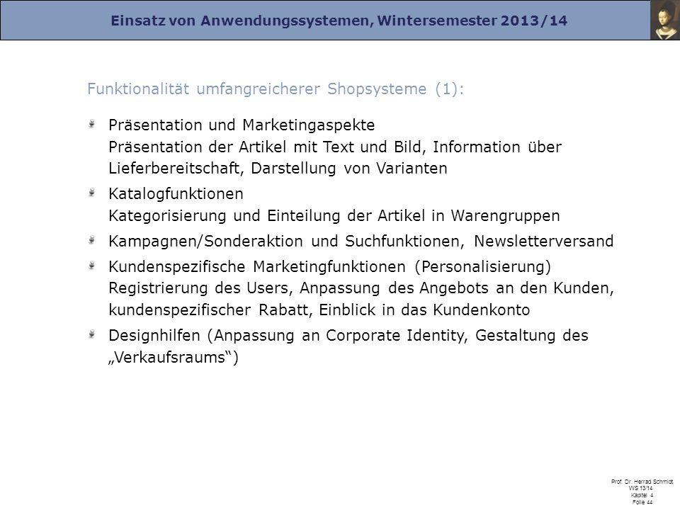 Einsatz von Anwendungssystemen, Wintersemester 2013/14 Prof. Dr. Herrad Schmidt WS 13/14 Kapitel 4 Folie 44 Präsentation und Marketingaspekte Präsenta