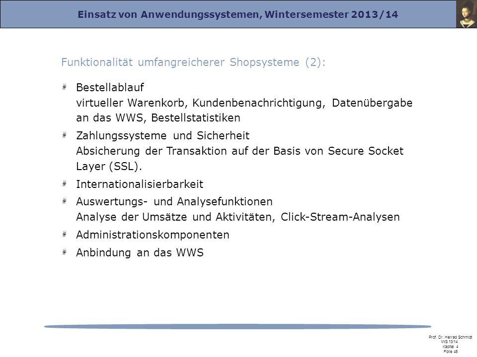 Einsatz von Anwendungssystemen, Wintersemester 2013/14 Prof. Dr. Herrad Schmidt WS 13/14 Kapitel 4 Folie 45 Bestellablauf virtueller Warenkorb, Kunden