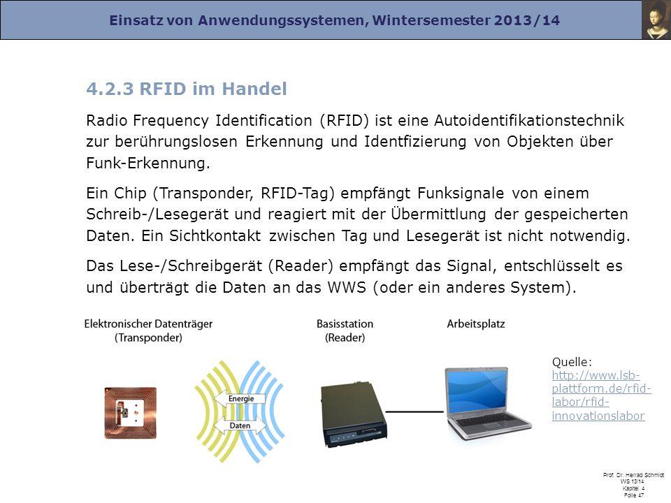 Einsatz von Anwendungssystemen, Wintersemester 2013/14 Prof. Dr. Herrad Schmidt WS 13/14 Kapitel 4 Folie 47 4.2.3 RFID im Handel Radio Frequency Ident