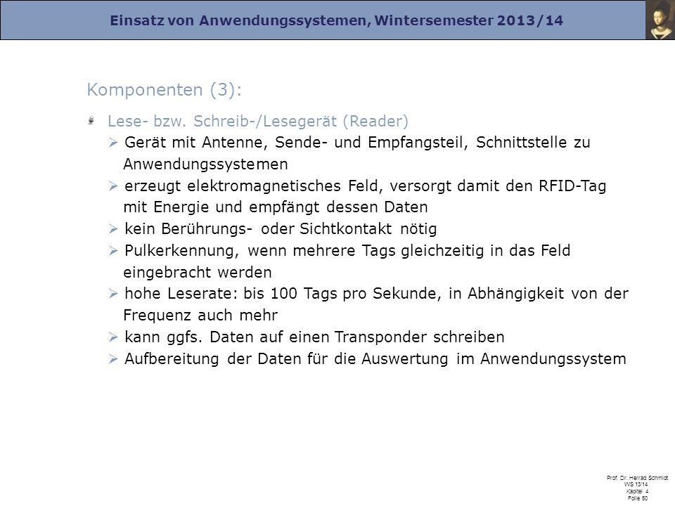 Einsatz von Anwendungssystemen, Wintersemester 2013/14 Prof. Dr. Herrad Schmidt WS 13/14 Kapitel 4 Folie 50 Komponenten (3): Lese- bzw. Schreib-/Leseg