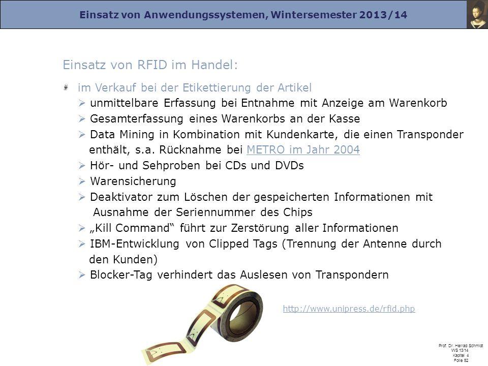 Einsatz von Anwendungssystemen, Wintersemester 2013/14 Prof. Dr. Herrad Schmidt WS 13/14 Kapitel 4 Folie 52 Einsatz von RFID im Handel: im Verkauf bei