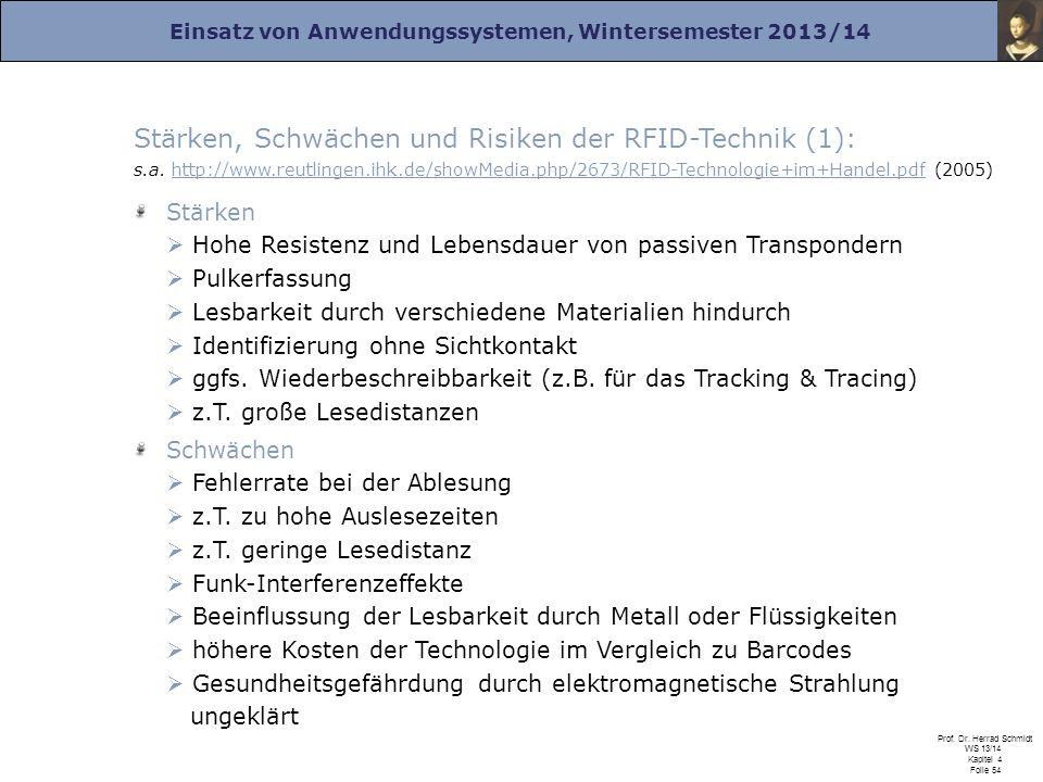 Einsatz von Anwendungssystemen, Wintersemester 2013/14 Prof. Dr. Herrad Schmidt WS 13/14 Kapitel 4 Folie 54 Stärken, Schwächen und Risiken der RFID-Te