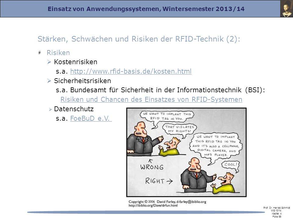 Einsatz von Anwendungssystemen, Wintersemester 2013/14 Prof. Dr. Herrad Schmidt WS 13/14 Kapitel 4 Folie 55 Stärken, Schwächen und Risiken der RFID-Te