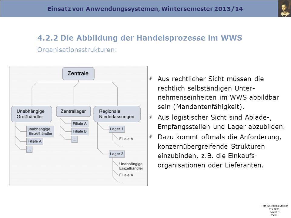 Einsatz von Anwendungssystemen, Wintersemester 2013/14 Prof. Dr. Herrad Schmidt WS 13/14 Kapitel 4 Folie 7 4.2.2 Die Abbildung der Handelsprozesse im