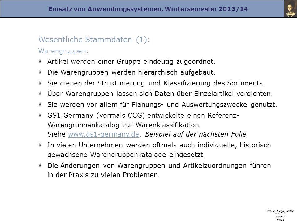 Einsatz von Anwendungssystemen, Wintersemester 2013/14 Prof. Dr. Herrad Schmidt WS 13/14 Kapitel 4 Folie 8 Wesentliche Stammdaten (1): Warengruppen: A