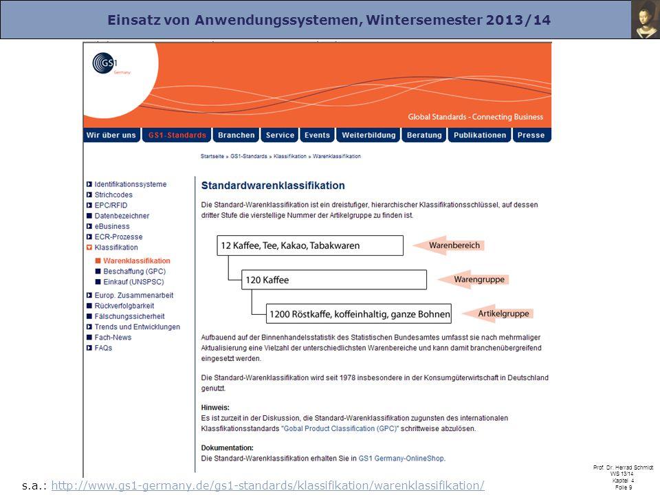 Einsatz von Anwendungssystemen, Wintersemester 2013/14 Prof. Dr. Herrad Schmidt WS 13/14 Kapitel 4 Folie 9 Wesentliche Stammdaten: Warengruppen - Grup
