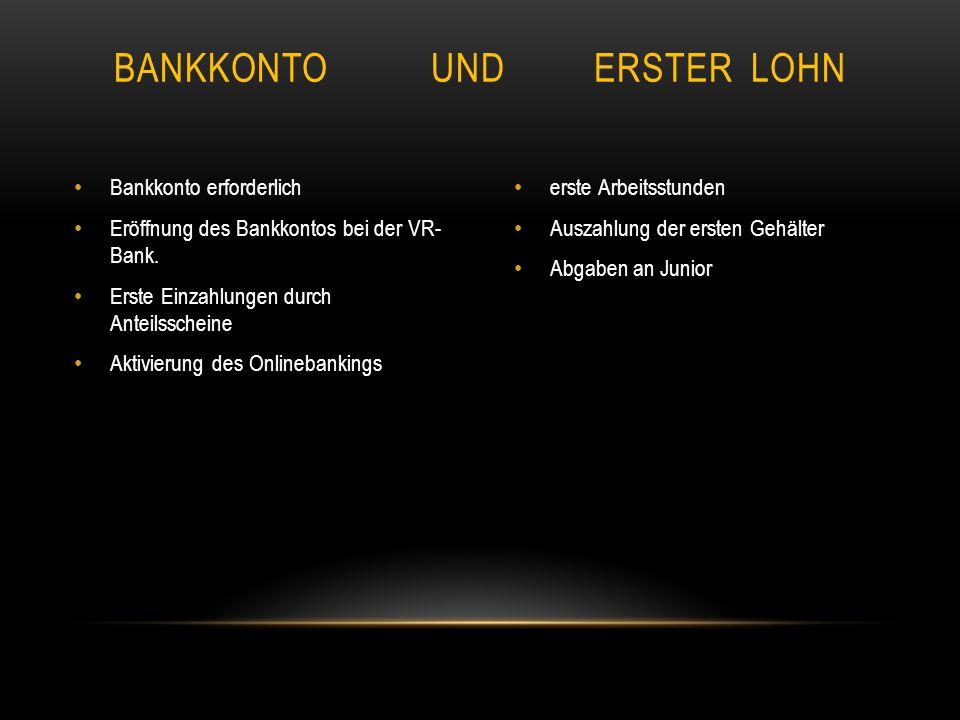 Bankkonto erforderlich Eröffnung des Bankkontos bei der VR- Bank.