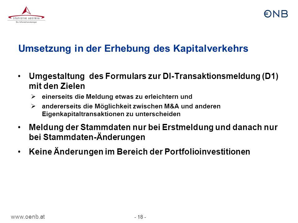 www.oenb.at - 18 - Umsetzung in der Erhebung des Kapitalverkehrs Umgestaltung des Formulars zur DI-Transaktionsmeldung (D1) mit den Zielen einerseits