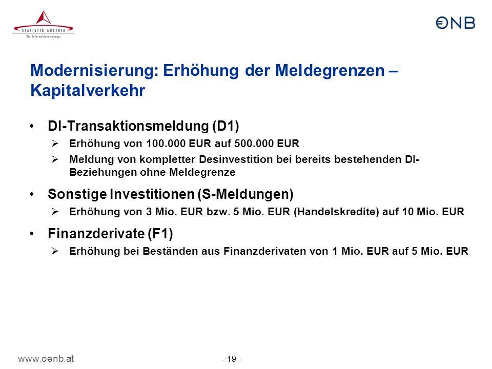 www.oenb.at - 19 - Modernisierung: Erhöhung der Meldegrenzen – Kapitalverkehr DI-Transaktionsmeldung (D1) Erhöhung von 100.000 EUR auf 500.000 EUR Mel