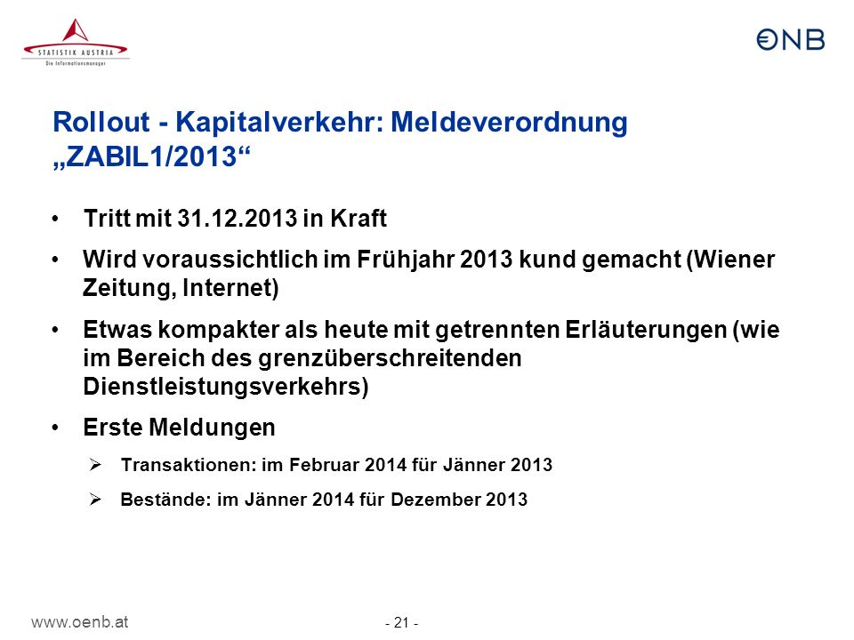 www.oenb.at - 21 - Rollout - Kapitalverkehr: Meldeverordnung ZABIL1/2013 Tritt mit 31.12.2013 in Kraft Wird voraussichtlich im Frühjahr 2013 kund gema