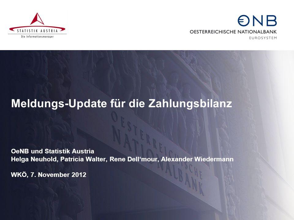 Meldungs-Update für die Zahlungsbilanz OeNB und Statistik Austria Helga Neuhold, Patricia Walter, Rene Dellmour, Alexander Wiedermann WKÖ, 7. November