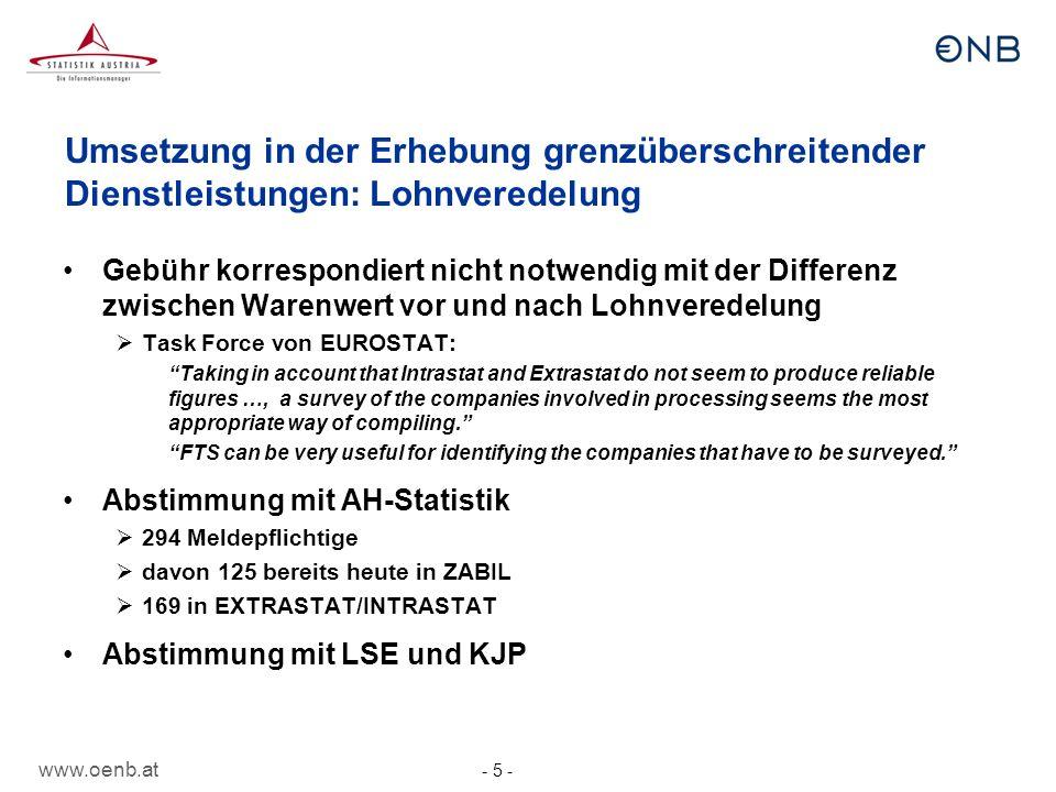 www.oenb.at - 26 - Zusammenfassung Neues Zahlungsbilanzhandbuch des IWF wurde durch EU- Verordnung und EZB-Leitlinie im Sommer 2012 umgesetzt Erste Meldung der Unternehmen nach neu: April 2013 bzw.