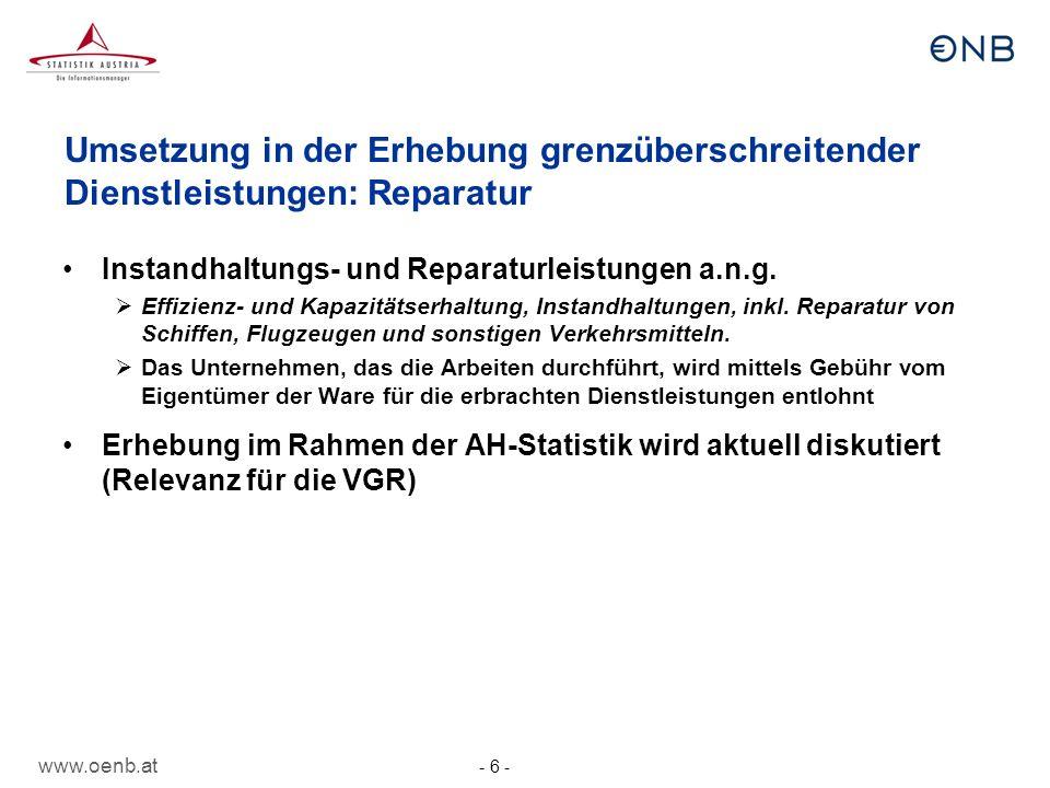 www.oenb.at - 7 - Umsetzung in der Erhebung grenzüberschreitender Dienstleistungen: sonstige Änderungen Transportleistungen Transport in Rohrleitungen Elektrizitätsübertragung Gebühren für die Nutzung von geistigem Eigentum a.n.g.