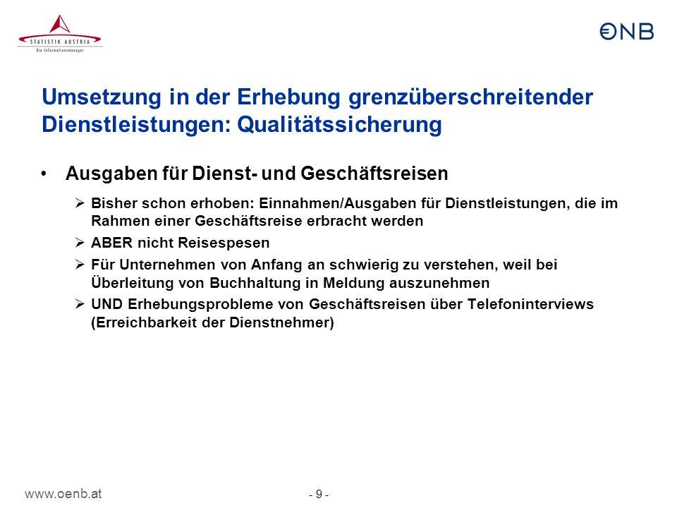 www.oenb.at - 10 - Umsetzung in der Erhebung grenzüberschreitender Dienstleistungen: nicht mehr zu melden Leistungen zwischen verbundenen Unternehmen Personalaufwand für Beschäftigte, die in Österreich keinen Hauptwohnsitz haben