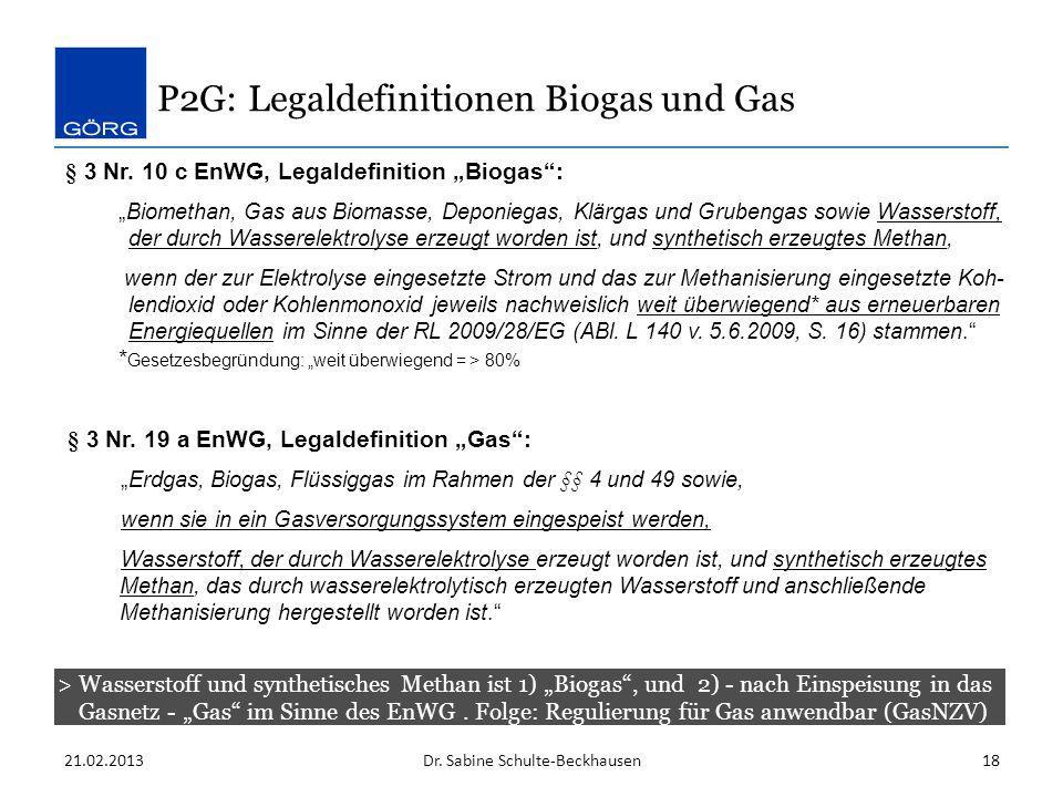 P2G: Legaldefinitionen Biogas und Gas > Wasserstoff und synthetisches Methan ist 1) Biogas, und 2) - nach Einspeisung in das Gasnetz - Gas im Sinne de