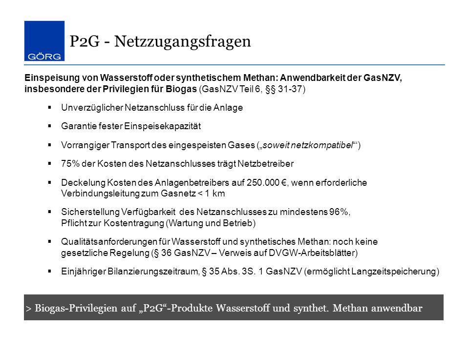 P2G - Netzzugangsfragen > Biogas-Privilegien auf P2G-Produkte Wasserstoff und synthet. Methan anwendbar Einspeisung von Wasserstoff oder synthetischem