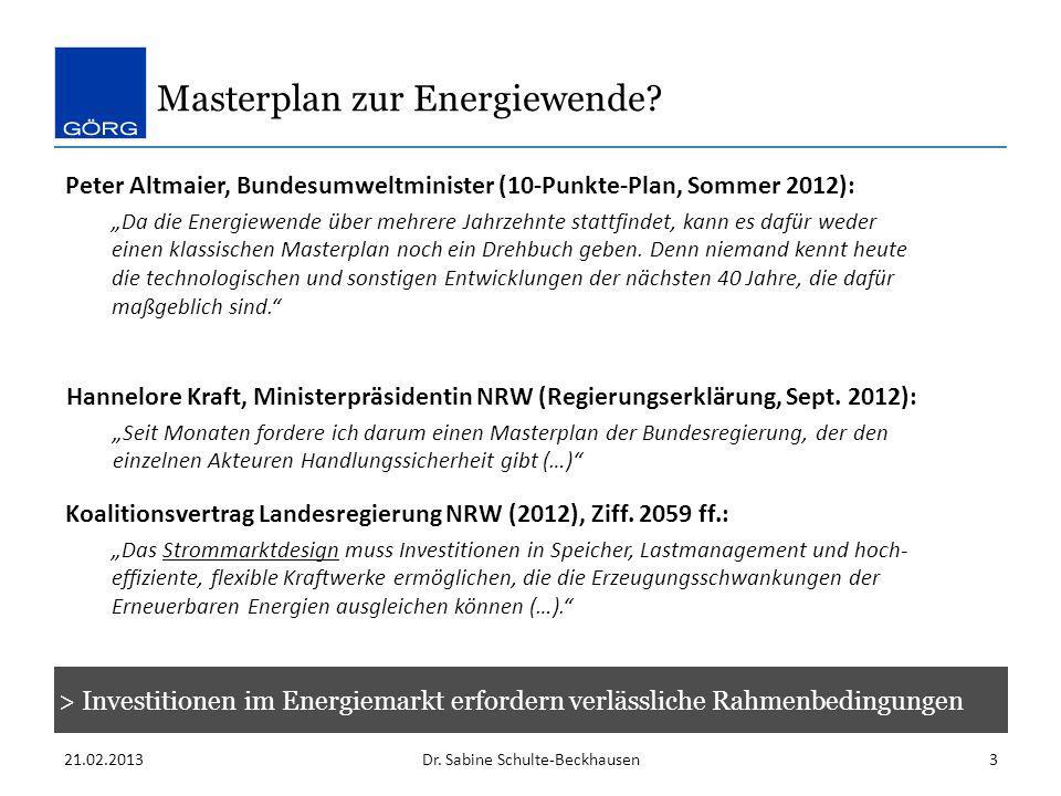 Masterplan zur Energiewende? 21.02.2013Dr. Sabine Schulte-Beckhausen3 Peter Altmaier, Bundesumweltminister (10-Punkte-Plan, Sommer 2012): Da die Energ