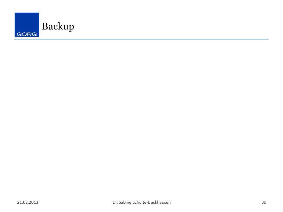 21.02.2013Dr. Sabine Schulte-Beckhausen30 Backup
