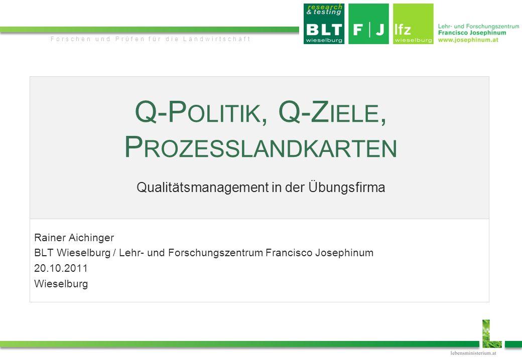 JosephinumResearch Forschen und Prüfen für die Landwirtschaft Q-P OLITIK, Q-Z IELE, P ROZESSLANDKARTEN Qualitätsmanagement in der Übungsfirma Rainer A