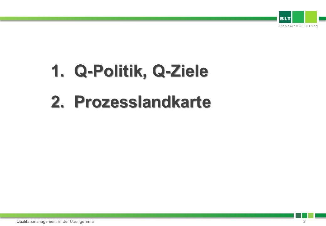 Research & Testing Qualitätsmanagement in der Übungsfirma2 1. Q-Politik, Q-Ziele 2. Prozesslandkarte