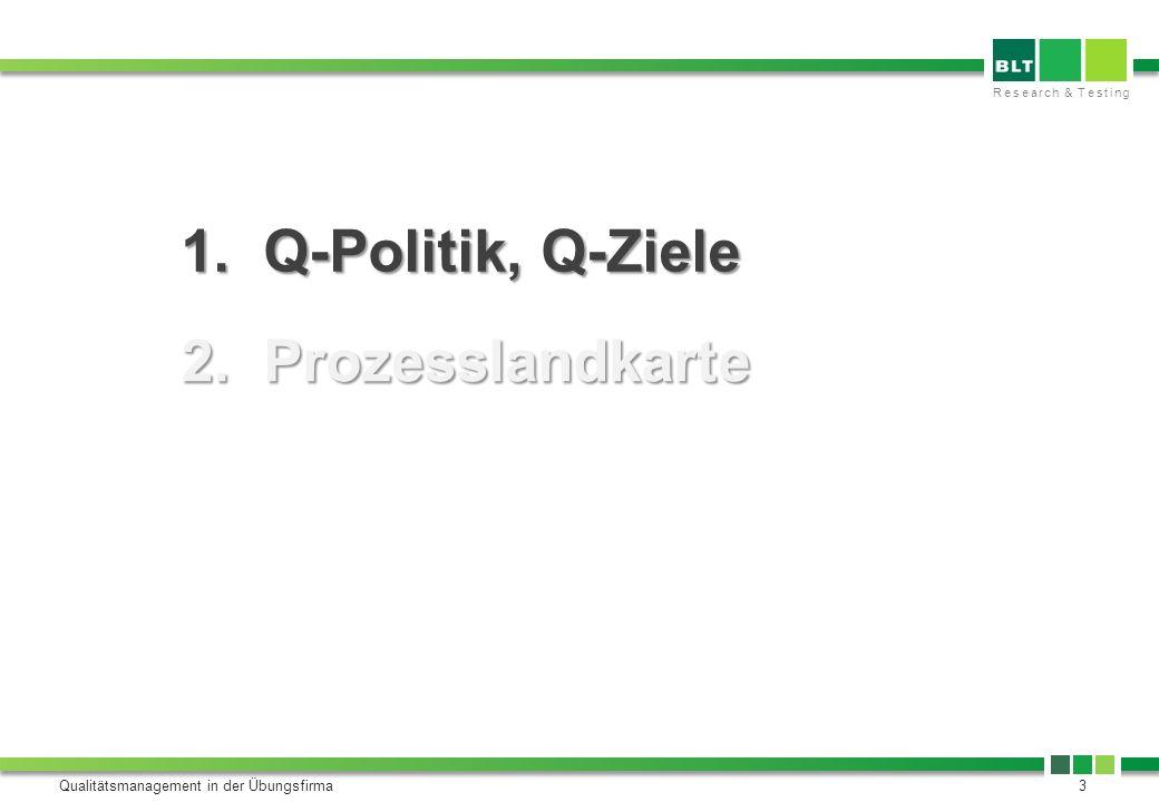 Research & Testing Qualitätsmanagement in der Übungsfirma3 1. Q-Politik, Q-Ziele 2. Prozesslandkarte