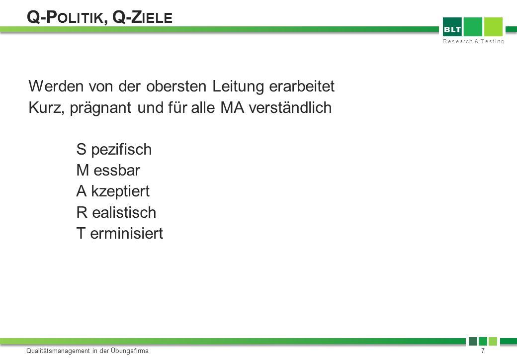 Research & Testing Q-P OLITIK, Q-Z IELE Qualitätsmanagement in der Übungsfirma7 Werden von der obersten Leitung erarbeitet Kurz, prägnant und für alle