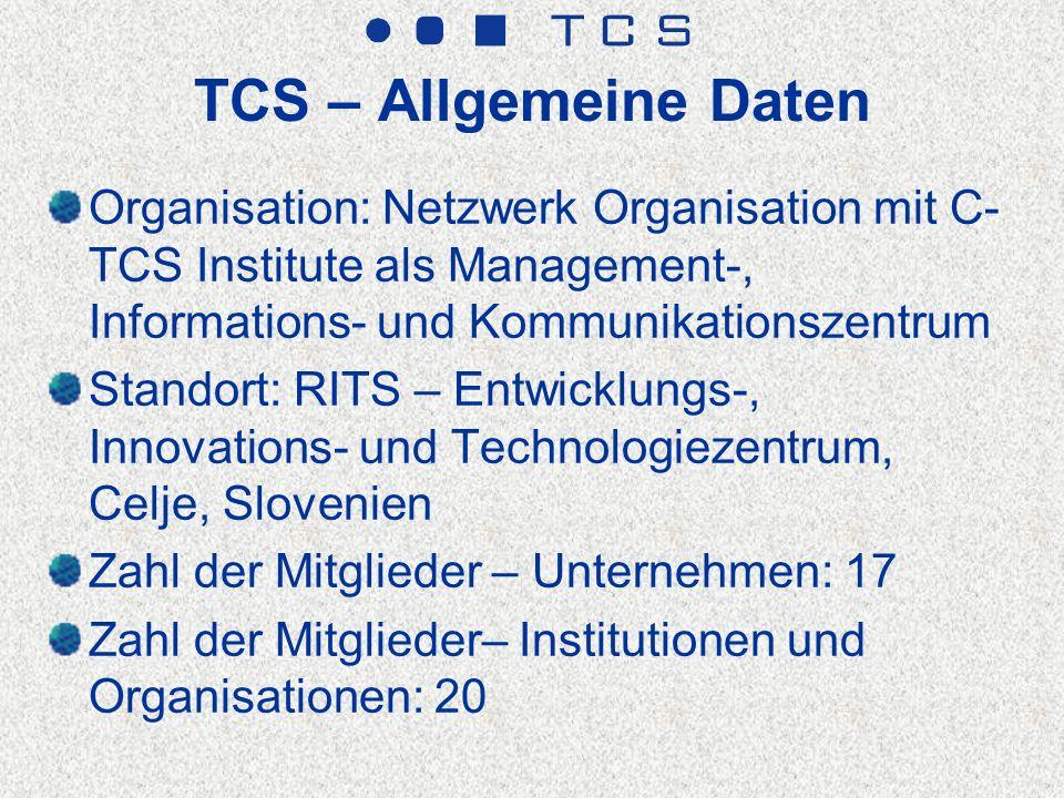 Allgemeine Daten-TCS Unternehmen* Verkauf der Unternehmen, TCS Mitglieder: 150 Mio EUR Export der Unternehmen, TCS Mitglieder: 120 Mio EUR Zahl der Beschäftigten, TCS Mitglieder: 1.800 Verkauf pro Arbeiter: 83.333 EUR Anteil des Exports : 73,3% * Daten für 2010