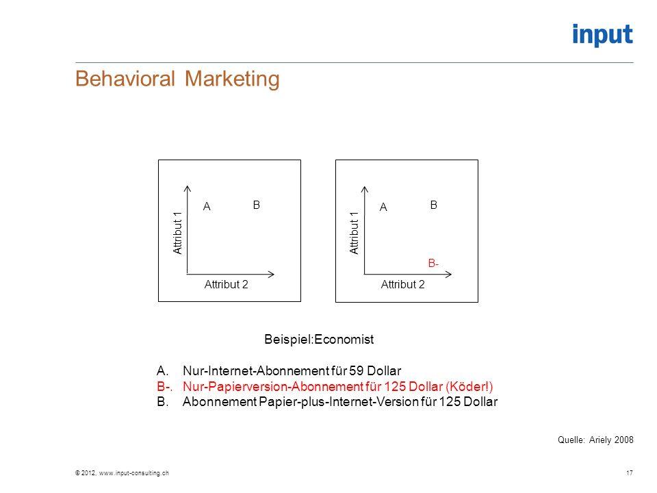 Behavioral Marketing Attribut 1 Attribut 2 A B B- Attribut 1 Attribut 2 A B Beispiel:Economist A.Nur-Internet-Abonnement für 59 Dollar B-.Nur-Papierve
