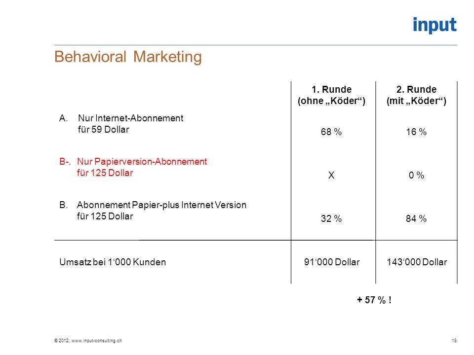 Behavioral Marketing 1. Runde (ohne Köder) A.Nur Internet-Abonnement für 59 Dollar 68 % B-.Nur Papierversion-Abonnement für 125 Dollar X B.Abonnement
