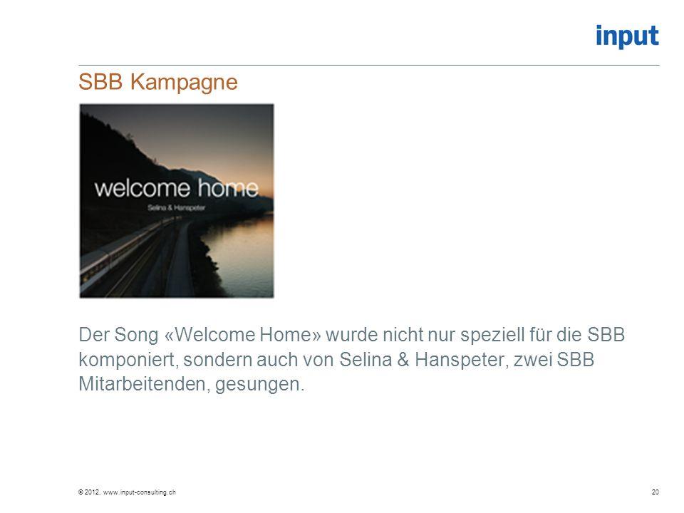 SBB Kampagne Der Song «Welcome Home» wurde nicht nur speziell für die SBB komponiert, sondern auch von Selina & Hanspeter, zwei SBB Mitarbeitenden, ge