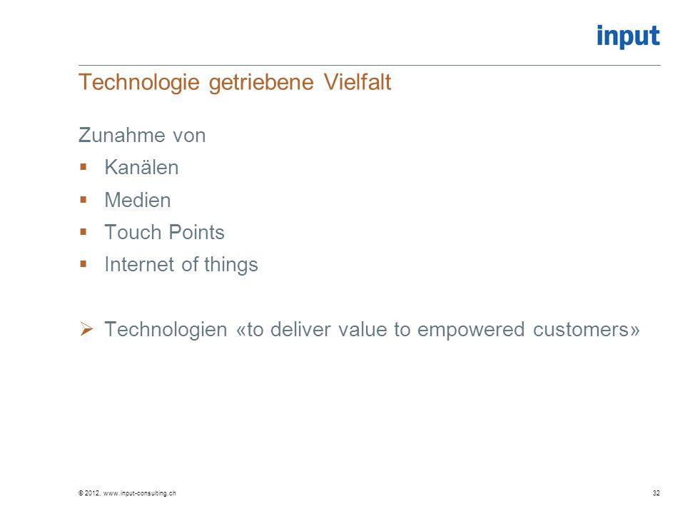 Technologie getriebene Vielfalt Zunahme von Kanälen Medien Touch Points Internet of things Technologien «to deliver value to empowered customers» © 20