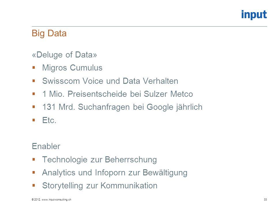 Big Data «Deluge of Data» Migros Cumulus Swisscom Voice und Data Verhalten 1 Mio. Preisentscheide bei Sulzer Metco 131 Mrd. Suchanfragen bei Google jä