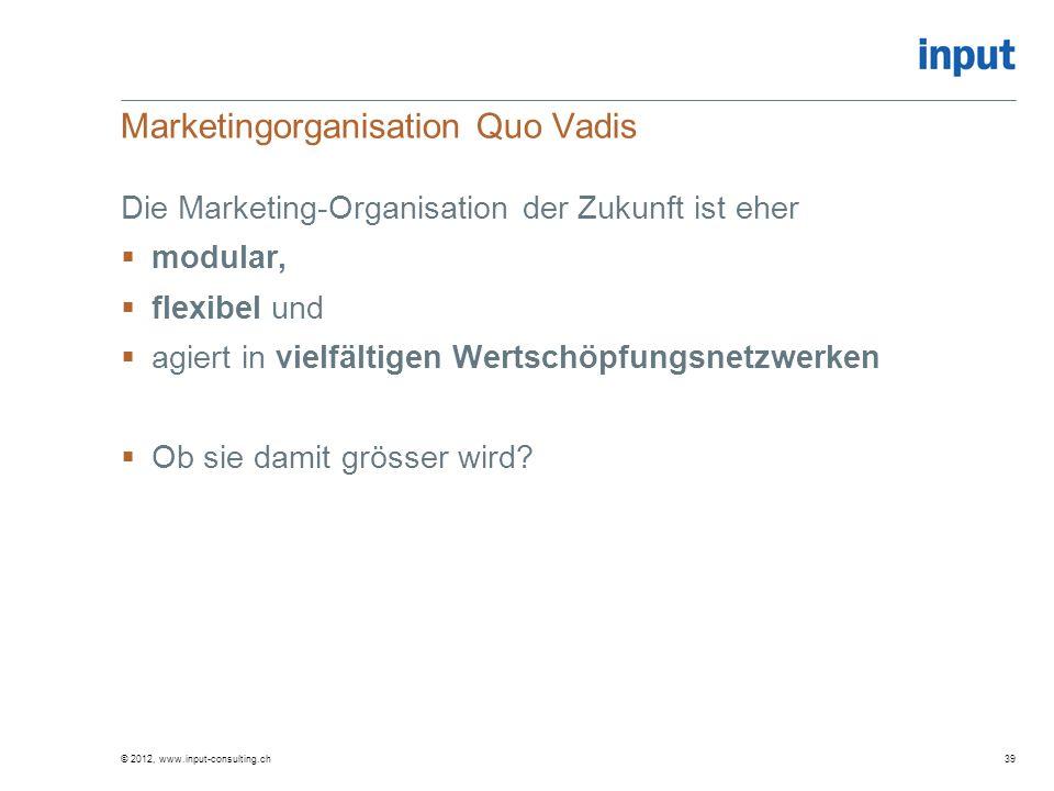 Marketingorganisation Quo Vadis Die Marketing-Organisation der Zukunft ist eher modular, flexibel und agiert in vielfältigen Wertschöpfungsnetzwerken