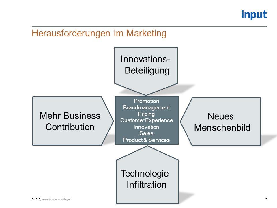The Marketing Capability Gap © 2012, www.input-consulting.ch38 Erwünschte Ressourcen (aufgrund Marktkomplexität, neuer Anforderungen und Dynamik) Tatsächlich verfügbare Ressourcen Zeit Ressourcenausstattung Quelle: Day, 2011 Marketing Capability Gap