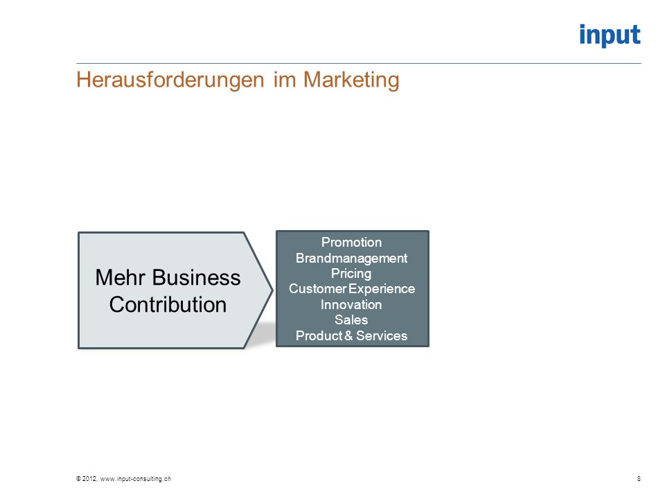 Mehr Business Contribution Herausforderungen im Marketing © 2012, www.input-consulting.ch8 Promotion Brandmanagement Pricing Customer Experience Innov