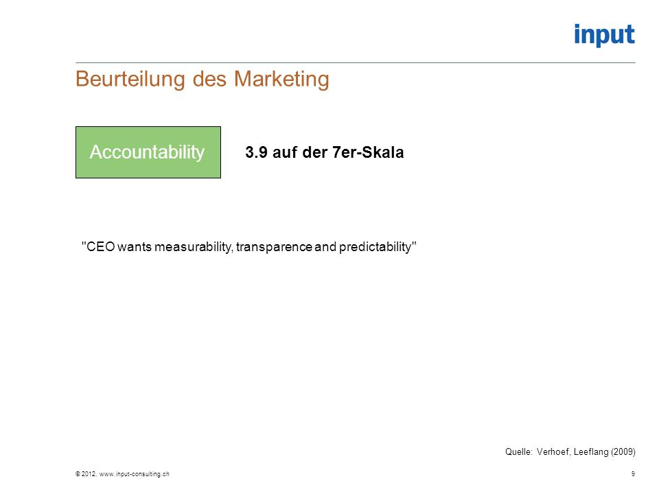 Beurteilung des Marketing © 2012, www.input-consulting.ch9 Accountability 3.9 auf der 7er-Skala Quelle: Verhoef, Leeflang (2009) CEO wants measurability, transparence and predictability