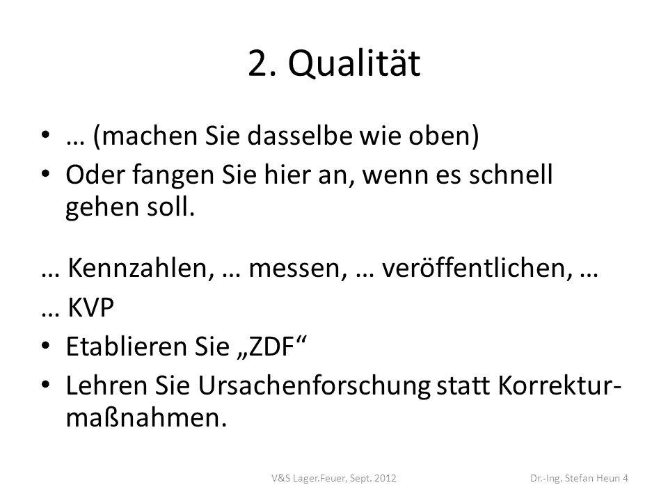 2.Qualität … (machen Sie dasselbe wie oben) Oder fangen Sie hier an, wenn es schnell gehen soll.