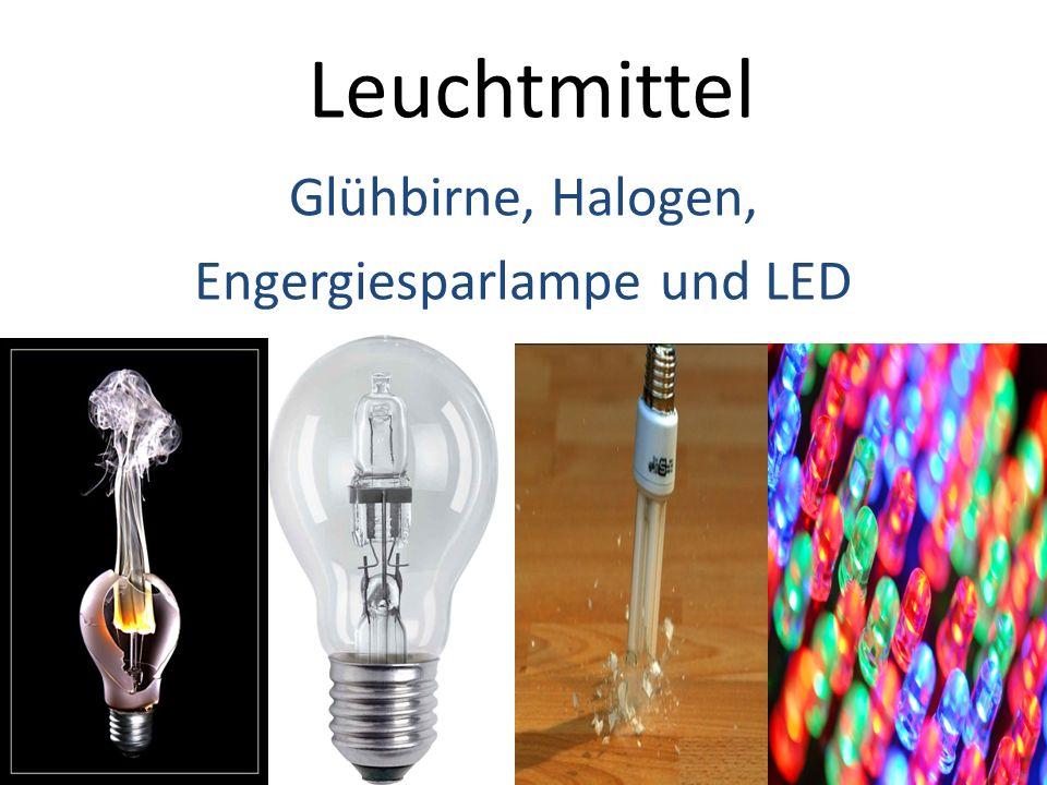 Leuchtmittel Glühbirne, Halogen, Engergiesparlampe und LED