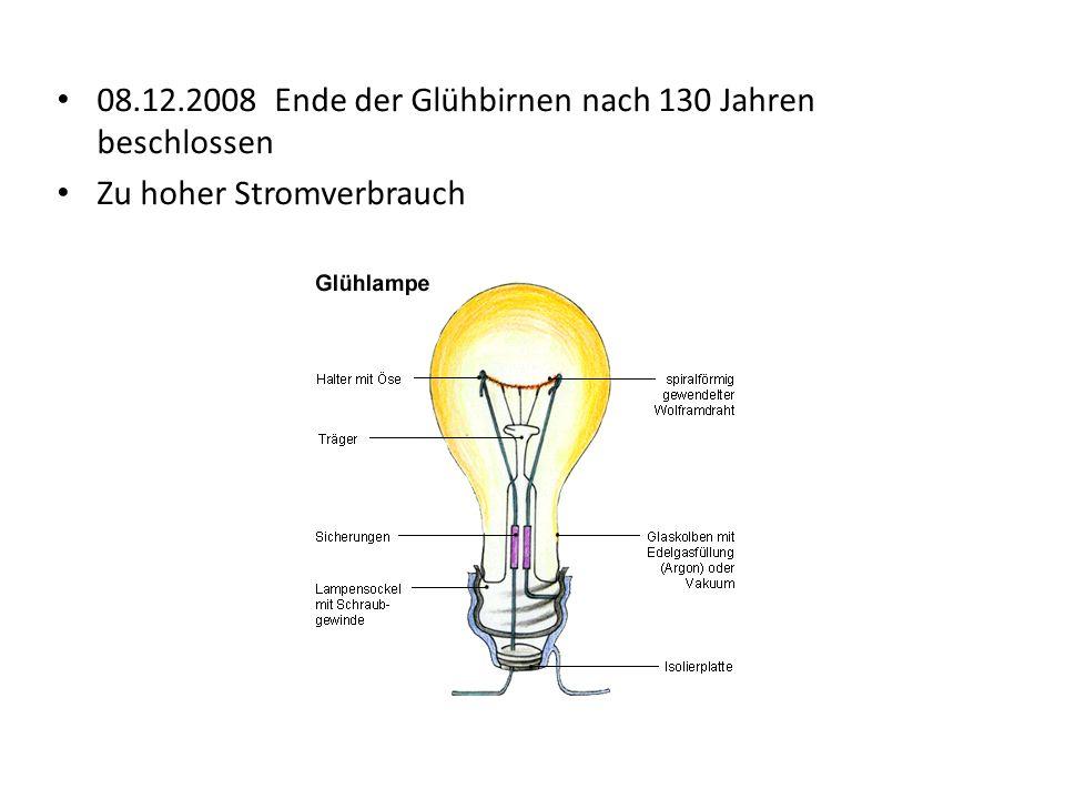 08.12.2008 Ende der Glühbirnen nach 130 Jahren beschlossen Zu hoher Stromverbrauch