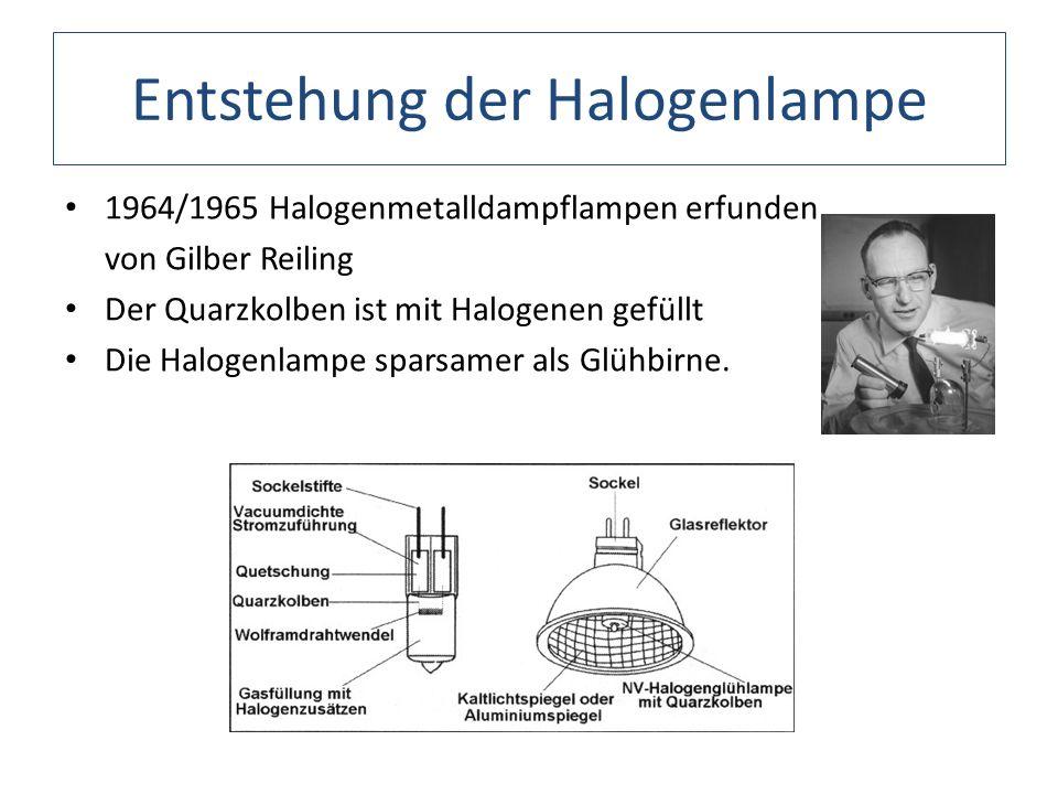 Entstehung der Halogenlampe 1964/1965 Halogenmetalldampflampen erfunden von Gilber Reiling Der Quarzkolben ist mit Halogenen gefüllt Die Halogenlampe