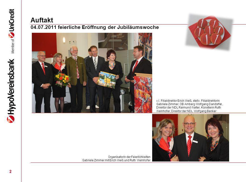04.07.2011 Eröffnung der Ausstellung von Ruth Welnhofer Flug in den Himmel über Amberg 3 Die Künstlerin Ruth Welnhofer wurde bewusst für diese Ausstellung gewählt, denn Ihre Amberger Motive spiegeln die Verbundenheit zu unserer schönen Stadt wieder.