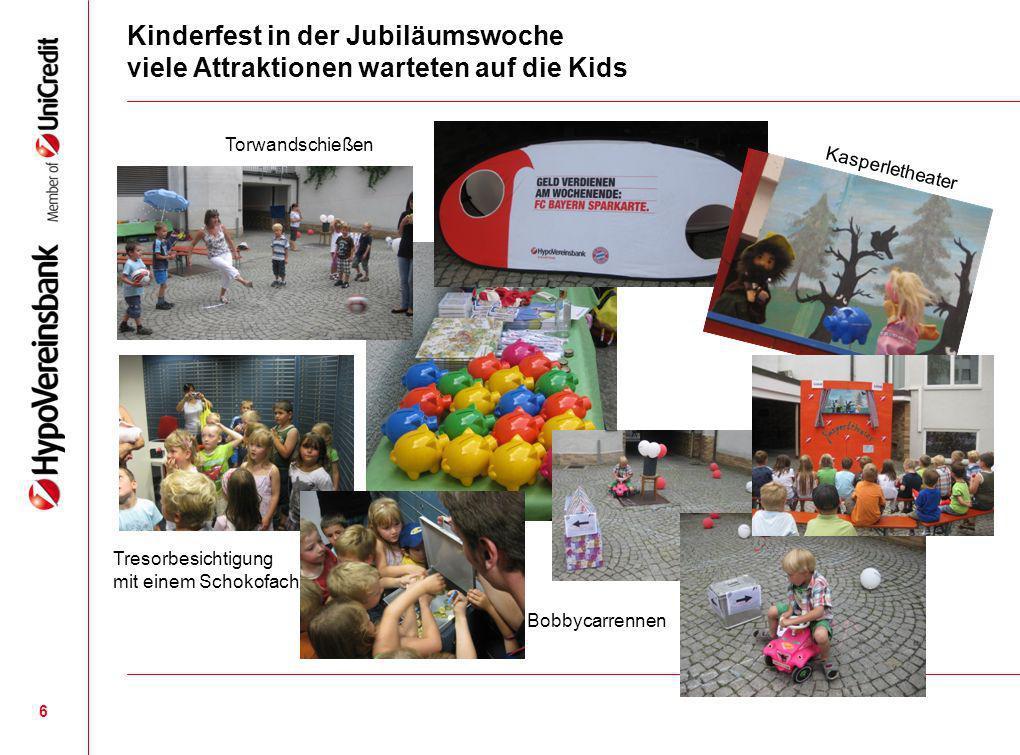 Kinderfest in der Jubiläumswoche viele Attraktionen warteten auf die Kids 6 Torwandschießen Bobbycarrennen Tresorbesichtigung mit einem Schokofach Kas