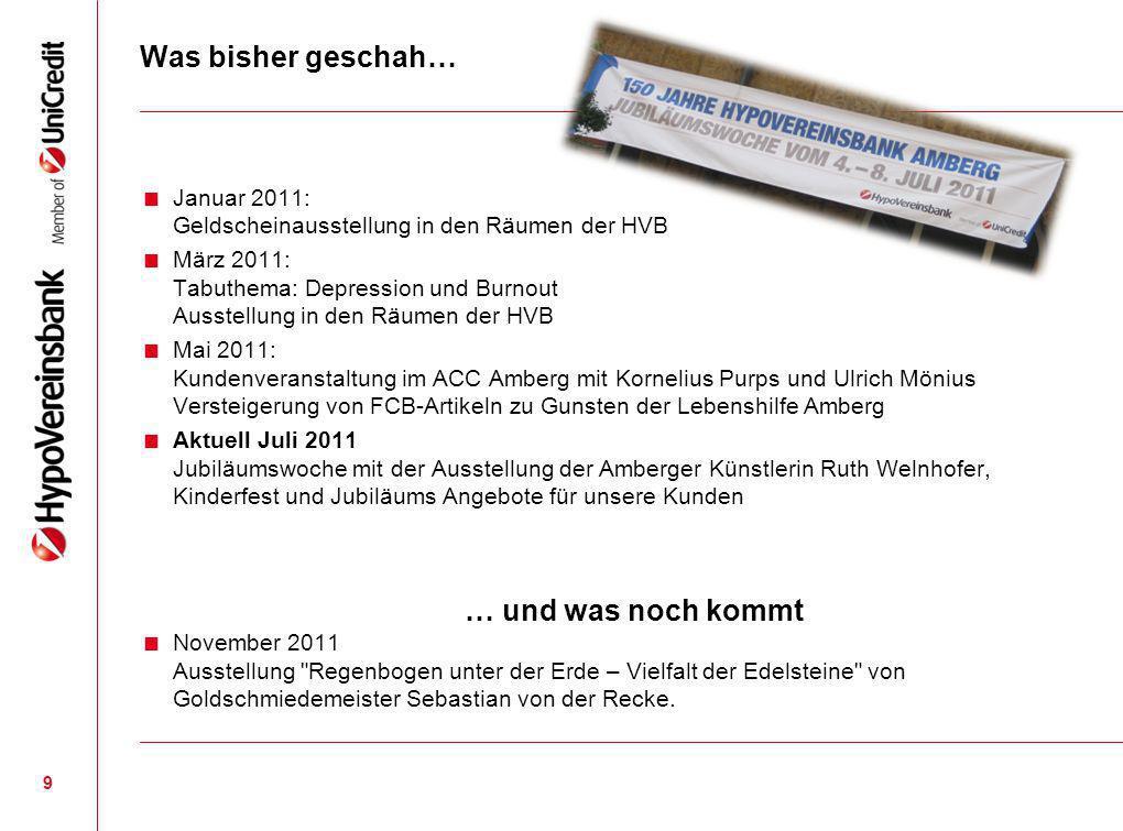 Was bisher geschah… Januar 2011: Geldscheinausstellung in den Räumen der HVB März 2011: Tabuthema: Depression und Burnout Ausstellung in den Räumen de